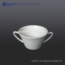 Bone China zwei Griffe White Blank feine sorgfältige Suppe Tasse und Untertasse