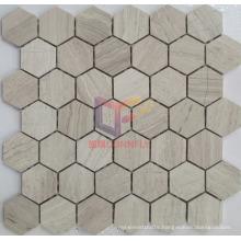Wooden Pattern Marble Stone Hexagon Mosaic Tile (CFS961)