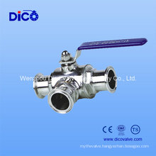 Sanitary Stainless Steel 3 Way Ball Valve with Clamp End