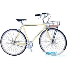 Bicicleta de engranaje fijo (piñón y rueda libre incluidos) con cesta