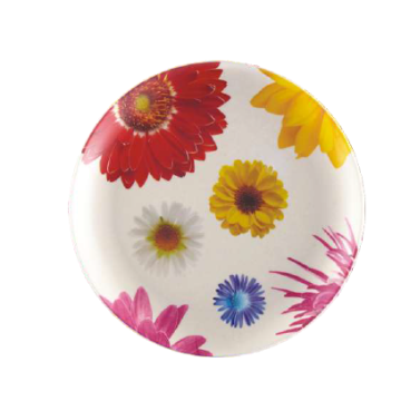 Flower Printing Round Bamboo Plate
