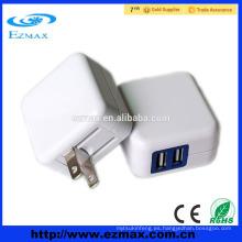 5V2.1A Cargador dual / único del USB, enchufe plegable de los EEUU para Iphone, Ipad, IPod, cojín