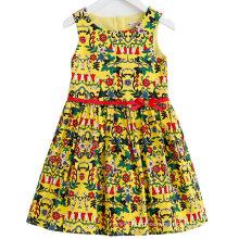 Vestido de niña de flores de algodón de moda en niños vestido con ropa de niños