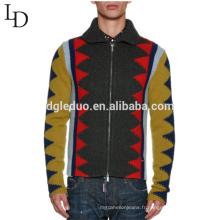 Les derniers modèles de pull jacquard moche revers à glissière pull en laine pour les hommes