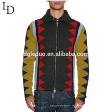 Mais recente camisola projetos jacquard feio lapela zipper up suéter de lã para homens