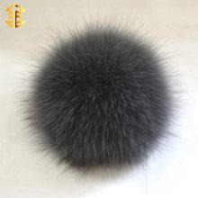 Feiner Fox Pelz Ball mit Knopf Hut Dekoration Großhandel echte 10cm Fox Pelz Pom Poms