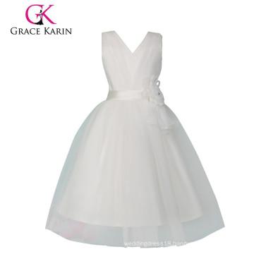 Grace Karin Sleeveless Cheap Princess White Flower Girl Dress CL008905