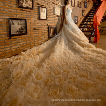 High-End Flowers 2.6 Meter Long Train Bridal Wedding Dress