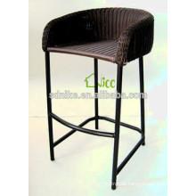 2014 the latest hot sale design aluminum frame tall black rattan bar chair