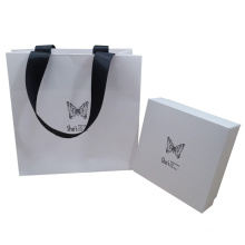 High End Customized Lid and Base Jewelry Gift Paper Bag Box with Foil Logo