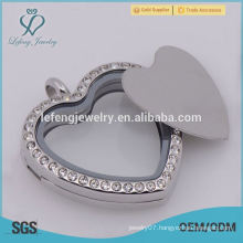 Good quality 316 stainless steel Silver Blank heart Floating plates For 30mm Round Floating Lockets