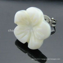Boucles d'oreille en acier inoxydable Boucles d'oreille en étain douce Boucle d'oreille en érable fleur fleurie EF-028