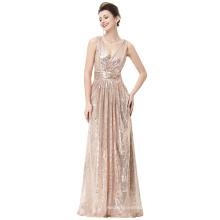 Kate Kasin Sleeveless V-Neck Rose Gold Shining Sequined Long Evening Party Dress KK000199-2