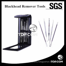 5 Pc Premium Professional Comedone Blackhead / Pimple Extractor and Blemish Remover Tool with Mirror