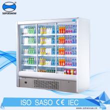 Refrigerador de bebidas frías con pantalla de dos puertas corredizas