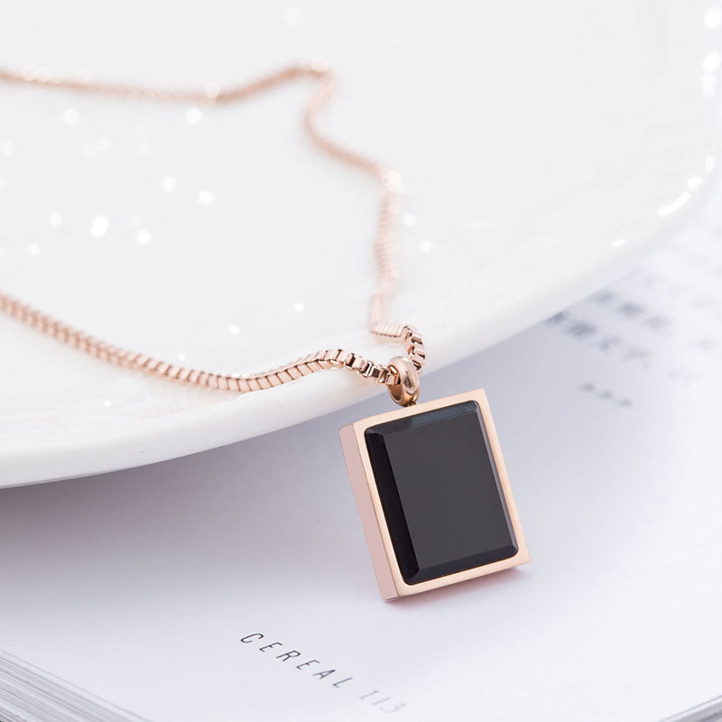 Necklace With Square Pendant