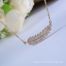 Vente chaude de nouveaux produits accessoires de mode pendentif en feuille de zircon collier pendentif en feuille