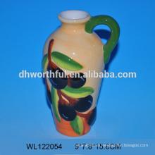 Fábrica directamente handpainting botella de aceite de oliva de cerámica