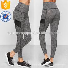 Серый Фактурный трикотаж широкий пояс Леггинсы OEM и ODM Производство Оптовая продажа женской одежды (TA7028L)
