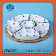Набор керамических разделенных пластин, набор блюд для сервировки блюд, круглый лоток 5шт с набором держателей зубьев
