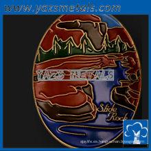 personalizar medallas de metal, personalizado de alta calidad de esmalte colorido senderismo palo medallones