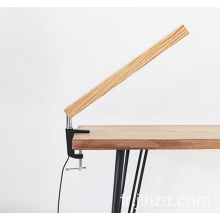 lampe de table rotative réglable en bois