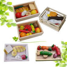 Kids Pretend Play Wooden Play Food with wooden box