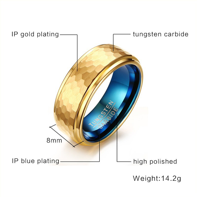 hammered tungsten mens wedding bands