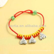 China antique design prata pingente de jóias pulseiras corda vermelha