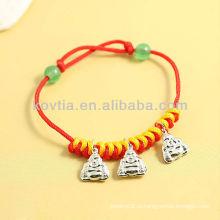 Китай антикварный дизайн серебряный кулон ювелирные изделия красный веревка браслеты