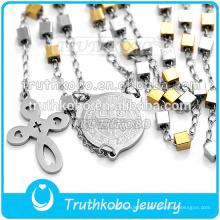Nouvelle Arrivée À La Main De Mode Haute Qualité Chapelet Perles Style Cross Chain Fine Bijoux Colliers en 316 En Acier Inoxydable