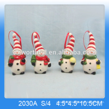 New ceramic snowman figurine,christmas hanging decoration for 2016 christhas party