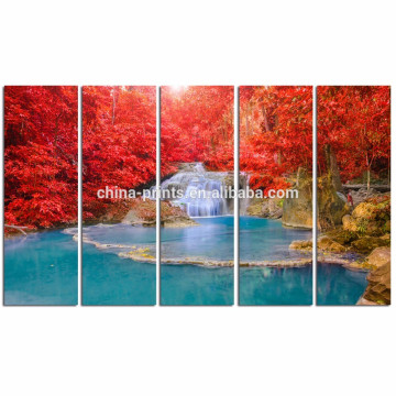 Moderner traumhafter Wasserfall-Segeltuch-Druck / ausgedehnte friedliche Landschaft-Wand-Kunst / Ahorn-Baum-Segeltuch-Anstrich