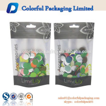clear cosmeic use customized design resealable ziplock stand up heat sealed pouch