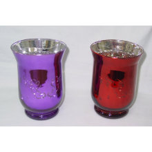 Colorful Silver Plating Glass Candle Holder/Hurricane Holder