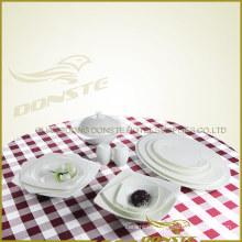 13 PCS Western Dinner Set Plain While Graceful Emblossed Lines