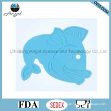 Placemat barato do silicone com forma Sm18 dos peixes