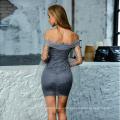 High Quality Women Sexy Tight Lace Ruched Metallic Wrap Chiffon Sleeve Bardot Dress