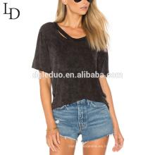 La camiseta atractiva de las mujeres de la manga corta del verano al por mayor del servicio del OEM