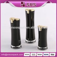 Redonda Loção Loção Garrafa Para o rosto creme e 15ml 30ml 50ml plástico acrílico preto hidratante creme garrafa
