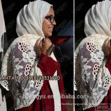 Top selling women nice lifestyle pattern stylish lace women Embroidered muslim scarf shawl cotton lace hijab