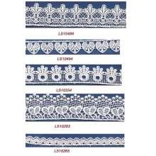 Con encanto hermoso diseños de encaje de guipur cordón químico tela para vestido de novia