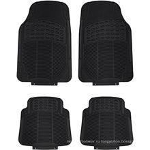 Набор всесезонных тяжелых резиновых ковриков для автомобилей, внедорожников, фургонов и грузовиков - универсальный коврик с отделкой для любого автомобиля (черный 4 шт.)