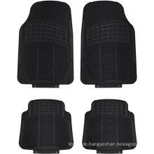 Set Ganzjahres-Hochleistungs-Bodenmatte aus geriffeltem Gummi für Autos, Geländewagen, Lieferwagen und Lastwagen - Universeller Teppich, passend für jedes Fahrzeug (schwarzer 4er-Pack)