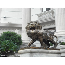 Large Modern Lion Arts ainmals outdoor decoration copper sculpture for Urban building
