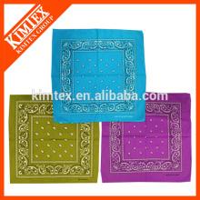 Square custom printed cotton unique biker bandanas