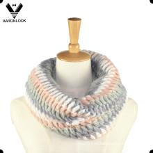 Moda acrílico Mohair Knit Snood para la señora