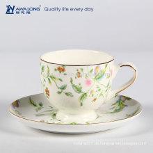 Modernste bunte Zeichnung Transluzente Keramik-Knochen China-Tee-Kaffeetasse und Untertasse-Set