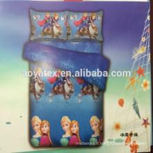 style populaire congelé pour les enfants grande taille 75gsm 100% polyester microfiber bedsheet ensembles