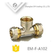 EM-F-A102 Latão fêmea latão tee encaixe de tubulação de compressão